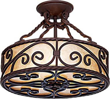 """Natural Mica Collection Rustic Ceiling Light Semi-Flush Mount Fixture Deep Walnut Scroll 15"""" Wide Drum Shade for House Bedroo"""