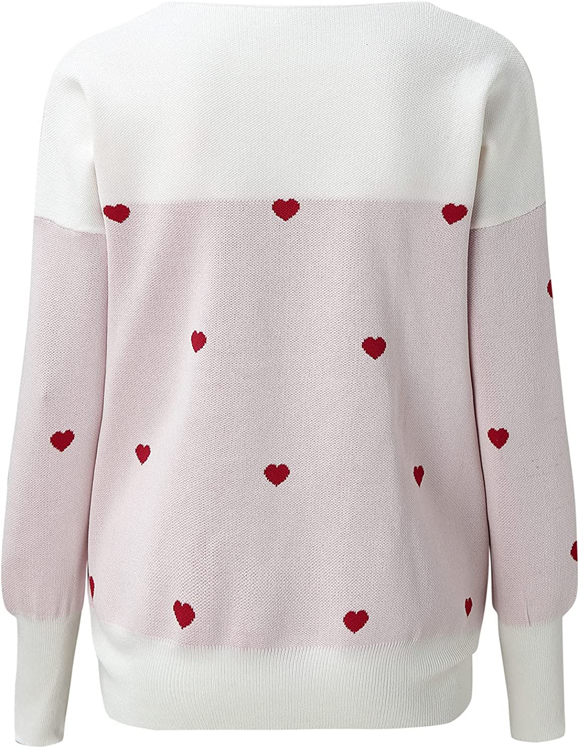 Women's Casual Lightweight V Neck Long Sleeve Knit Top Loose Pullover Sweater Color Block Cute Love Heart Print Sweaters