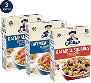 Quaker Oatmeal Squares Breakfast Cereal Variety Pack, 43.5 Ounce