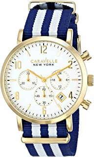 Caravelle New York Men's 44B107 Gold-Tone Stainless Steel Watch with Blue and White Nylon Band