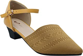 Shuberry SB-19054 Latest Footwear Collection, Comfortable & Fashionable Fabric in Peach & Yellow Colour Sandal for Women & Girls