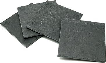 "Creative Home 73472 Natural Slate Stone Set of 4 Pieces Square Coaster straight edge, 4"" x 4"", Dark Gray"