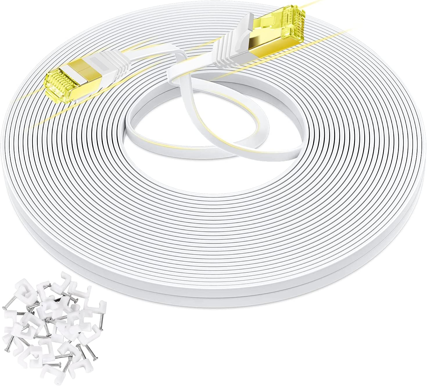 AoforzTech Cat 7 Ethernet Cable Double San Jose Mall Shielded ft 35 Arlington Mall Flat