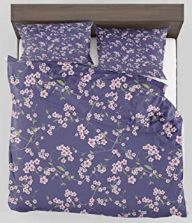 ZELXXXDA Decor Bedding Set Japanese Blooming Sakura Cherry Branches Chinese Asian Oriental Kimono Pattern Full/Queen Size Duvet Cover with 2 Matching Pillow sham