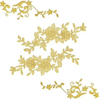2 Large Gold Pairs Lace Flower Leaves Patches for Wedding Prom Dress DIY Clothing, Embroidered Appliques Patches