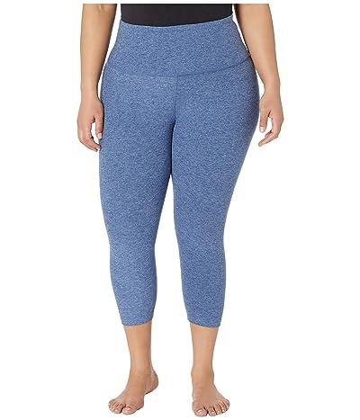 Beyond Yoga Plus Size Spacedye High Waisted Capris (Serene Blue/Hazy Blue) Women