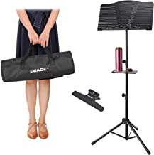 Music Stand IMAGE Sheet Music Stand Adjustable and Foldable Travel Metal Music Stand with Carrying Bag Music Tray and Music Sheet Clip Holder for Instrumental Performance