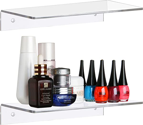 MyGift 12 Inch Contemporary Clear Acrylic Floating Shelf Wall Mounted Display Organizer Set Of 2