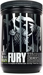 Animal Fury Pre Workout Powder Supplement for Energy and Focus 5g BCAA 350mg Caffeine Nitric Oxide Without Creatine Powerf...