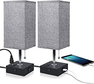 USB Bedside Table Lamp,Ambimall Nightstand Lamp with USB Charging Port and Power Outlet, Grey Fabric Shade Desk Lamp for Bedroom, Living Room-2PCS(Black Base)