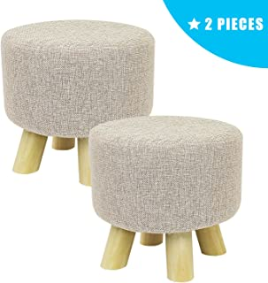 Jerry & Maggie - 2 Pieces Footstool Fabric Ottomans Bench Seat Foot Rest Step Stool with Feet Protection Design | Round - 4 Legs - Beige