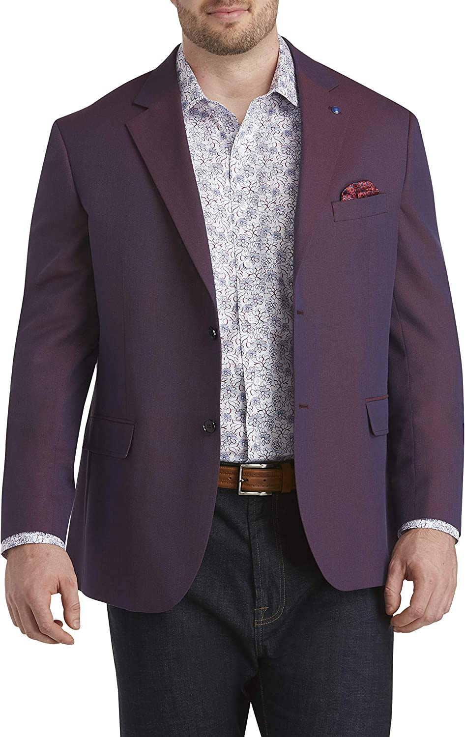 Oak Hill by DXL Big and Tall Jacket-Relaxer Textured Solid Sport Coat, Berry