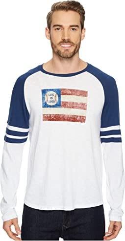 Life is Good - Baseball Flag Vintage Sport Long Sleeve
