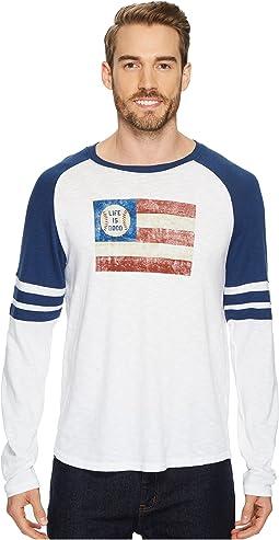 Life is Good Baseball Flag Vintage Sport Long Sleeve