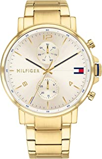 Tommy Hilfiger Men'S Champagne Dial Ionic Thin Gold Plated 2 Steel Watch - 1710415