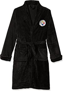 Officially Licensed NFL Pittsburgh Steelers Men's Silk Touch Lounge Robe, Large/X-Large, Black