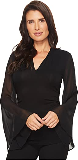 Vince Camuto - Chiffon Bell Sleeve Side Ruched Top