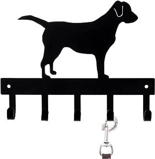 MyGift Wall-Mounted Black Metal Labrador Silhouette Key & Dog Leash Rack