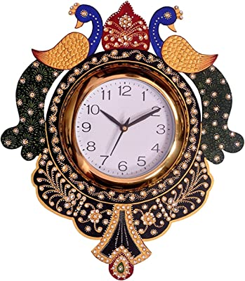 ANALOG HANDMADE PAPER MACHE & EMBOSS WOODEN WALL CLOCKS FOR HOME DECOR