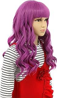 Karlery Child Kids Long Wave Purple Wig Halloween Cosplay Wig Anime Costume Party Wig