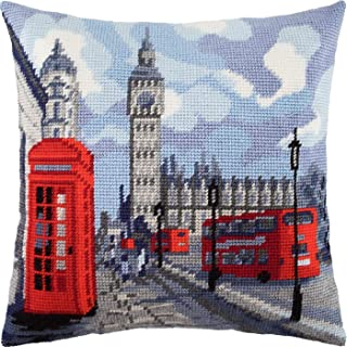 London. Needlepoint Kit. Throw Pillow 16�16 Inches. Printed Tapestry Canvas, European Quality