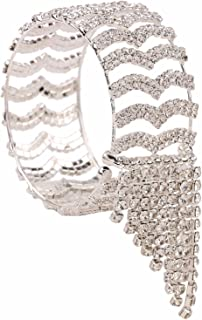 cdfad79692d Efulgenz Fashion Silver Plated Adjustable Hinged Cuff Bracelet Bangle for  Women and Girls