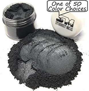 Stardust Micas Pigment Powder Cosmetic Grade Colorant for Makeup, Soap Making, Epoxy Resin, DIY Crafting Projects, Bright True Colors Stable Mica Batch Consistency Black Shimmer