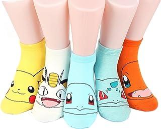Kiss Socks, Pokemon Women's Ankle Socks 5 pairs (5 color) = 1 pack Made in Korea