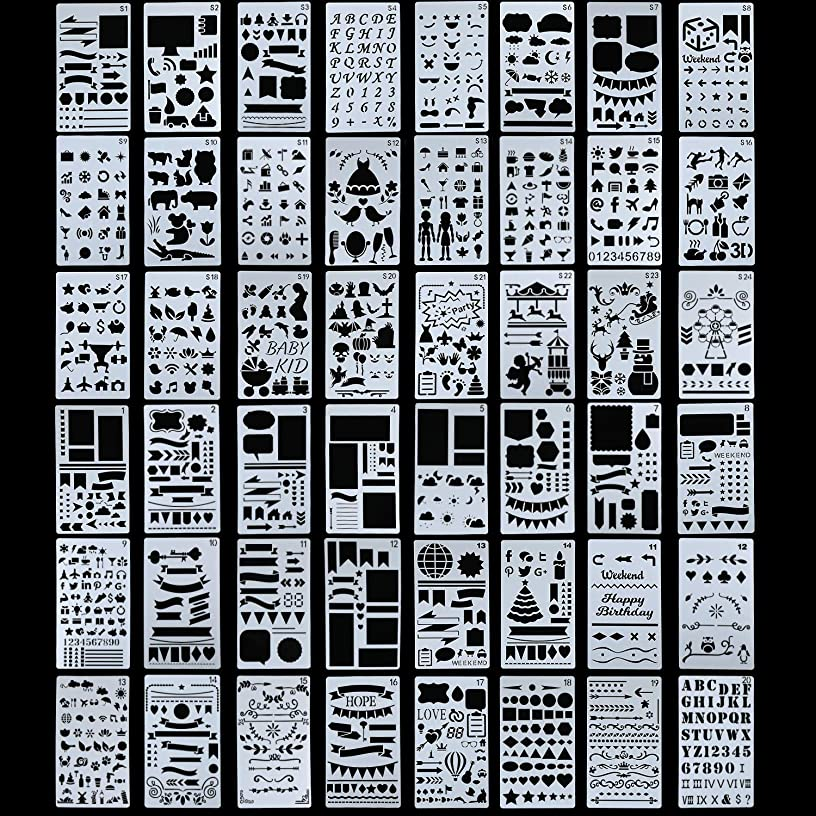 48 Pieces Plastic Drawing Stencils Over 1900 Different Patterns Templates Planner Kit for Diary Notebook Scrapbook DIY 4 x 7 Inches