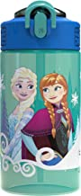 Zak Designs Disney Frozen 2 Water Push Button Action and Locking Lid Includes Portable Carry Loop, Leak-Proof Design is Perfect for Outdoor Sports (16oz, BPA-Free, Elsa & Anna Plastic Bottle