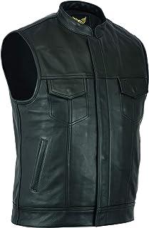 Leatherick SOA biker gilet van echt leer voor biker-cut-off-stijl, met diepe zakken, perfect voor ruiters (L - EUR52) Zwart