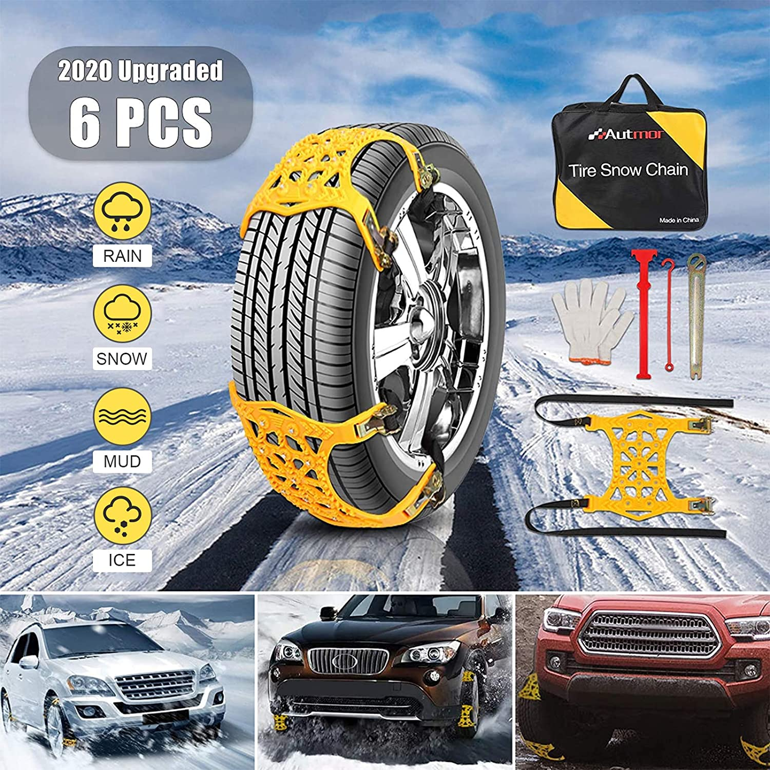 AUTMOR Snow Chains 6pcs Adjustable Anti Attention brand Ca Recommended Skid for Tire