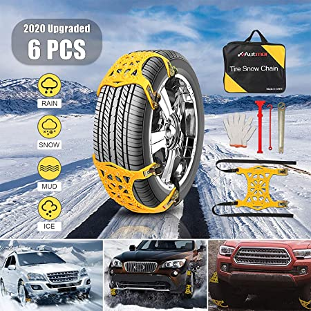 Tire Traction Chain Device for Snow 165-195mm Mud and Sand Portable Emergency Snap Buckle Non-Slip Devices for Passenger Cars Trucks Van SUVs 3pcs