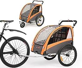 Fiximaster 2020 V2 Multifunktion 2 in 1 Fahrradanhänger/Kinderwagen 360 ° drehbar Baby Buggy Fahrradanhänger mit Lenker und Federung Orange BT504S Neu