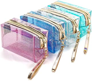 4Pcs Waterproof Cosmetic Bags PVC Transparent Zippered Toiletry Bag with Handle Strap Portable Clear Makeup Bag Pouch for ...