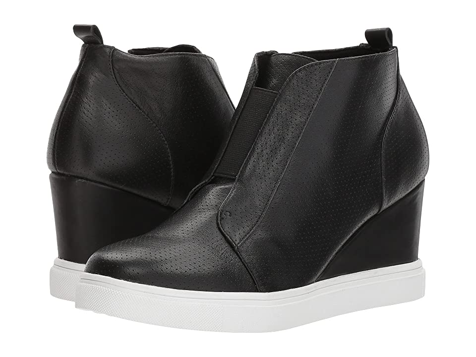 Blondo Gatsby Waterproof Wedge Sneaker (Black Leather) Women