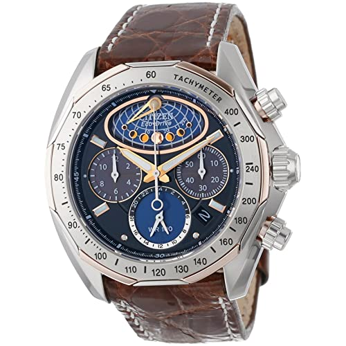Citizen Mens AV3006-09E The Signature Collection Eco-Drive Moon Phase Flyback Chronograph Watch
