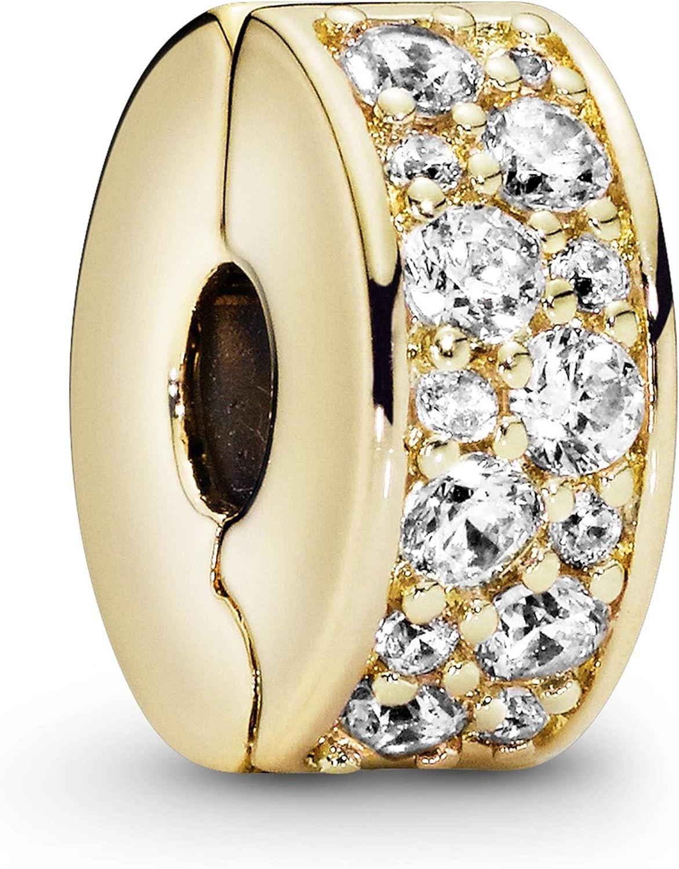 Pandora Jewelry Clear Pave Clip Cubic Zirconia Charm in Pandora Shine