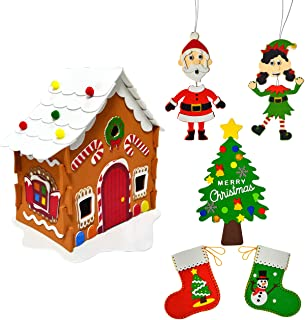 JOYIN Christmas Art and Craft Kit DIY with 3D Gingerbread House, Christmas Tree Door Sign, Foam Stocking Kit, Two Characte...