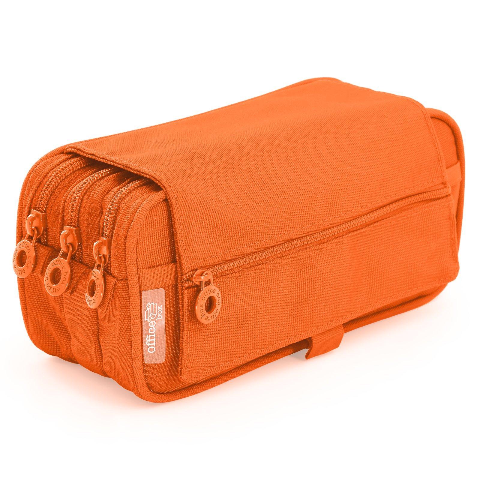 Estuche Portatodo Triple de Amplios Apartados Interiores con Cierre de Cremallera Individual (Naranja): Amazon.es: Oficina y papelería