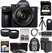 Sony Alpha A7 III 4K Digital Camera & 28-70mm FE OSS Lens with 64GB Card + Battery & Charger + Backpack + 3 Filters + Tripod + Tele/Wide Lens Kit