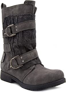 Womens Jupiter Winter Moto Boot with Cable Knit Overlay