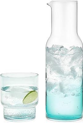 Prologue Haze - Juego de 4 piezas de cristales azules soplados a mano con jarra de vidrio