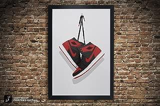 Air Jordan One (1) Vintage Hanging Kicks Large Sneaker Wall Art Illustration in Various Sizes