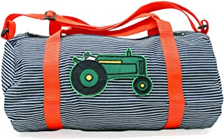 Toddler Tractor Duffel Bag for Boys Preschool Striped Denim Small, Weekender Luggage, Made in the USA