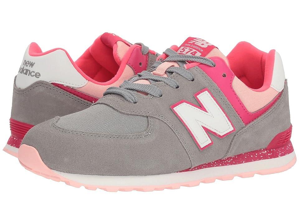 New Balance Kids GC574v1 (Big Kid) (Grey/Pink Zing) Girls Shoes