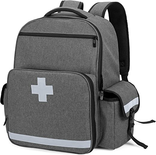 CURMIO Emergency Medical Backpack Empty, First Responder EMT Bag for EMS, Camping, Hiking, Home Health, Field Trips, Gray (Bag Only, Patented Design)
