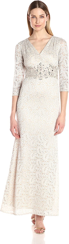 Alex Evenings Womens VNeck Lace Evening Gown with Beaded Waist Dress Dress
