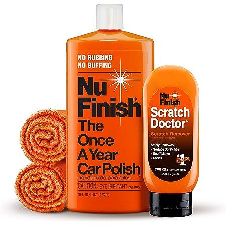 Nu Finish 4-Piece Car Care Kit with Scratch Doctor Scratch Remover, Car Polish, & 2 Microfiber Cloths