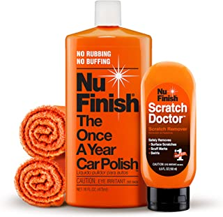 Nu Finish 4-Piece Car Care Kit with Scratch Doctor Scratch Remover, Car Polish, 2 Microfiber Cloths